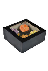 Zwarte doos voor 4 cupcakes (25 stuks)