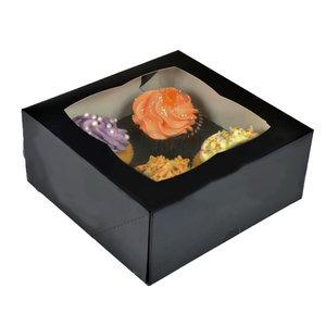 Zwarte doos voor 4 cupcakes (25 st.)