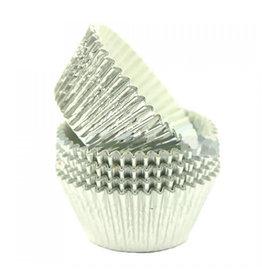 Cupcake cups folie - zilver (500 stuks)