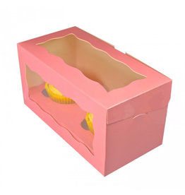 Pink box for 2 cupcakes (25 pcs.)