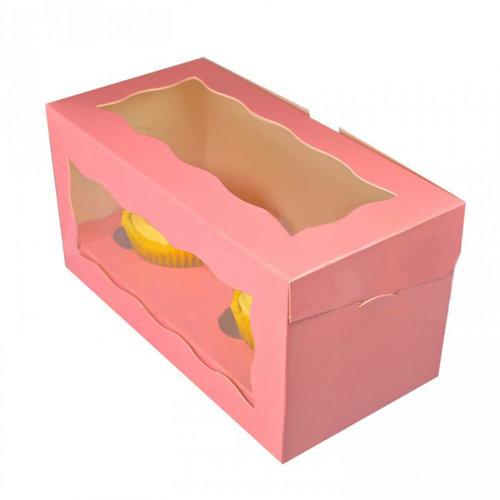 Roze doos voor 2 cupcakes (per 25 stuks)