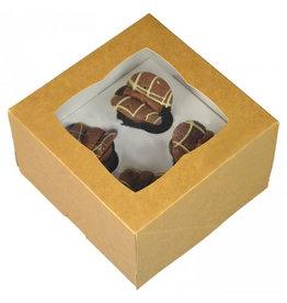 Kraft doos voor 4 minicupcakes (25 st.)