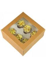 Kraft doos voor 6 minicupcakes (per 25 stuks)