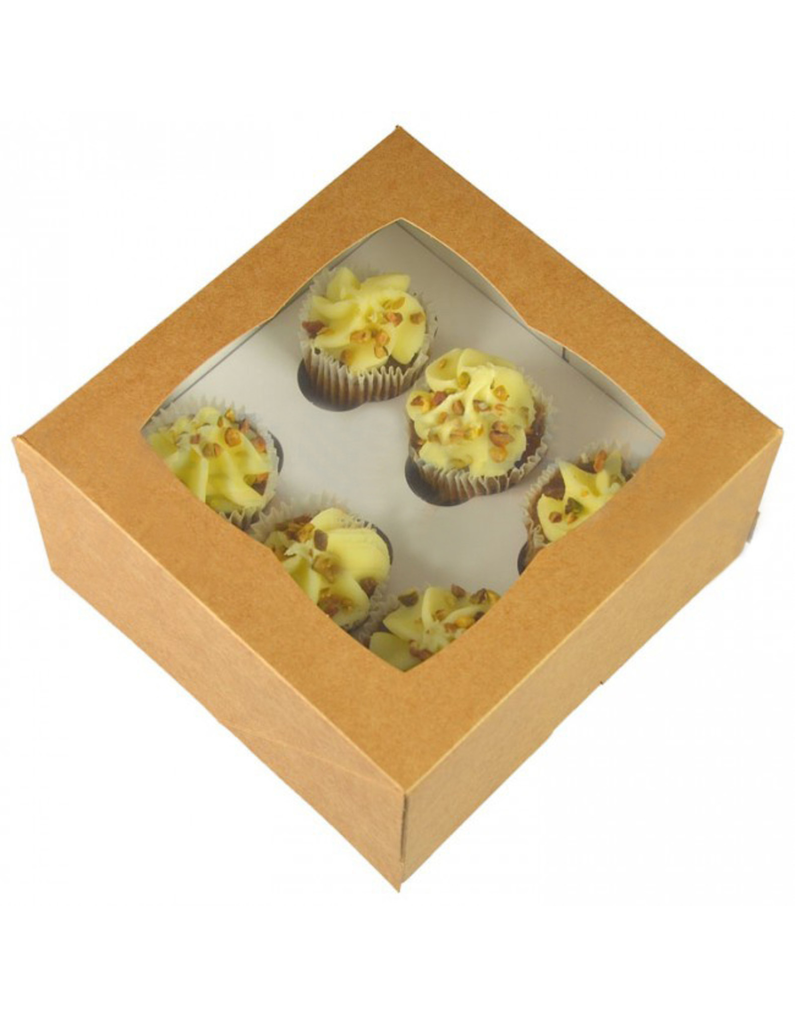Kraft box for 6 mini cupcakes (per 25 pieces)