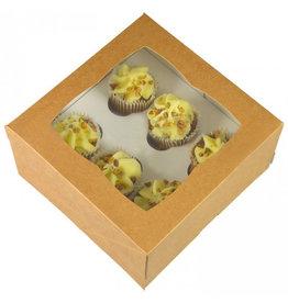 Kraft doos voor 6 minicupcakes (25 st.)