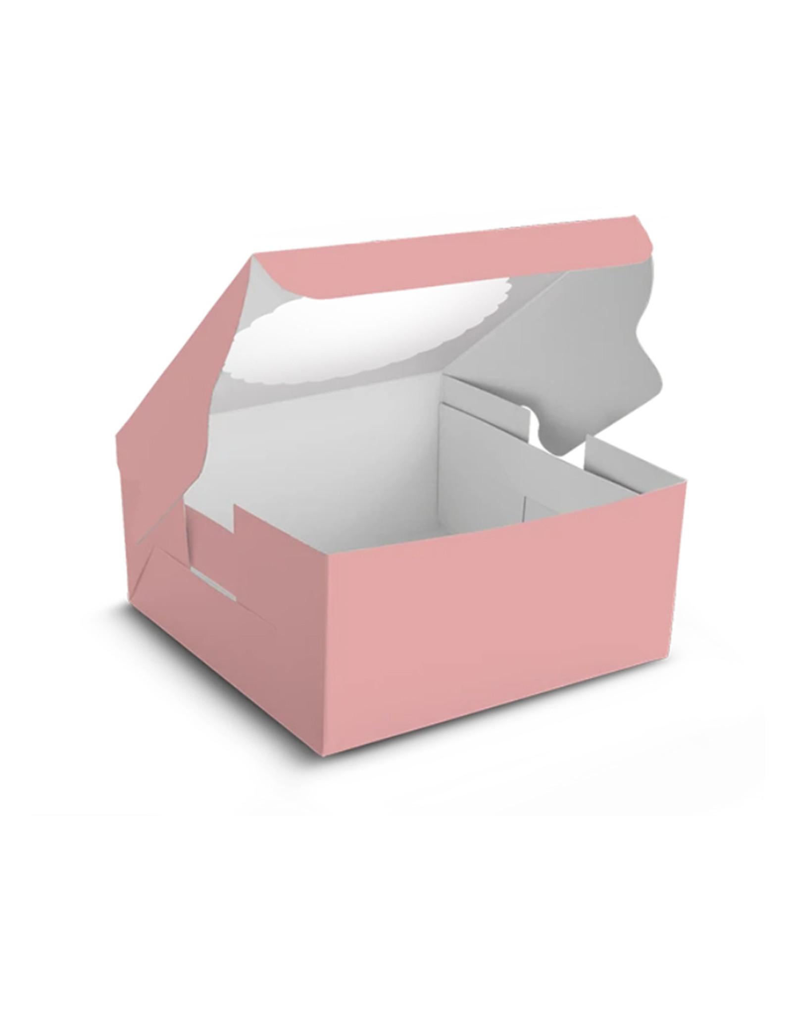 Roze taartdoos met venster - 203 x 203 x 127 mm (per 10 stuks)
