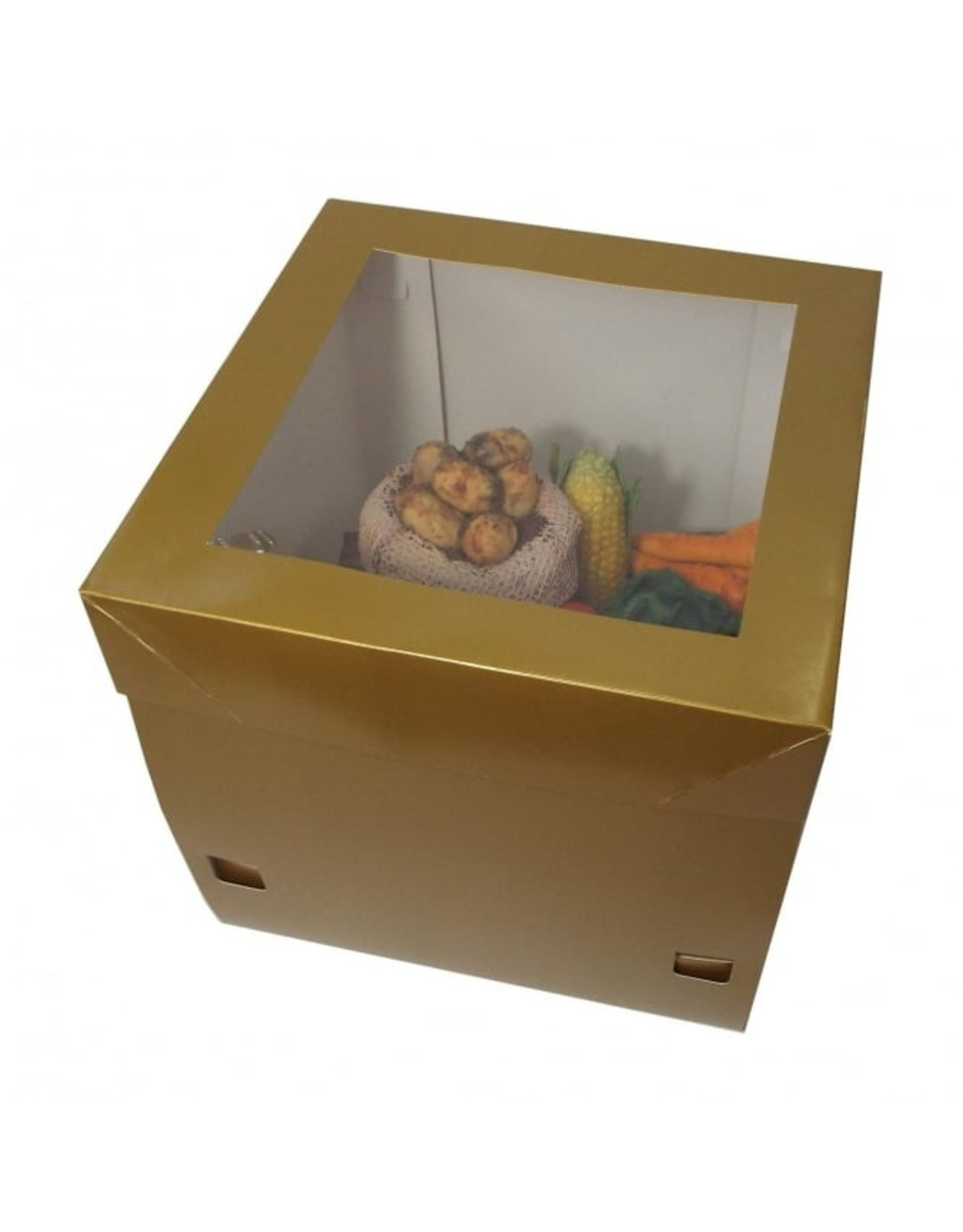 Luxe goudkleurige taartdoos - 30x30x30 (25 stuks)