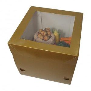 Luxe goudkleurige taartdoos - 32x32x31 (25 st.)