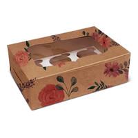 Floral kraft box for 6 cupcakes (10 pcs.)