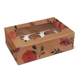 Floral kraft box for 6 cupcakes (10 pcs.)