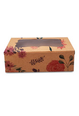 Floral kraft box for 6 cupcakes (per 10 pieces)