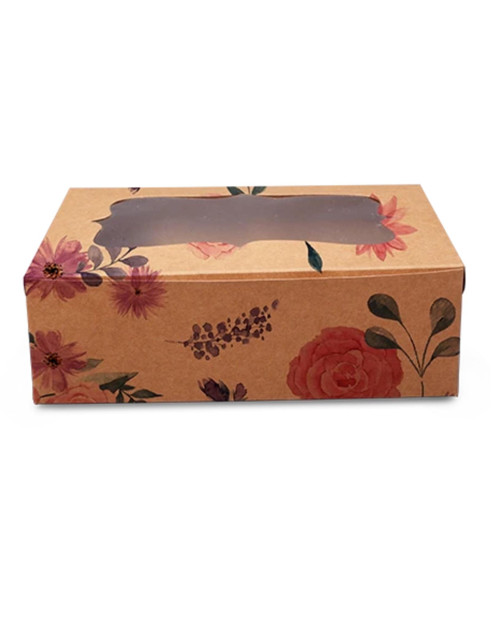 Fleurige kraft doos voor 6 cupcakes (per 10 stuks)