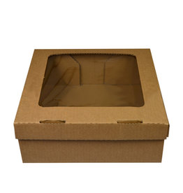 Kraft corrugated box with filmed window - 30x29x10 (50 pc.)
