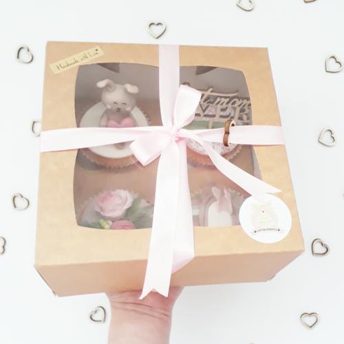 Kraft doos voor 4 cupcakes (per 25 stuks)