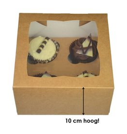Kraft doos voor 4 cupcakes (25 st.)