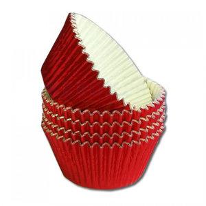 Metallic baking cups - rood (500 stuks)