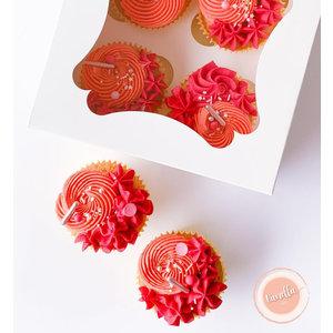 Witte doos voor 4 cupcakes (25 st.)