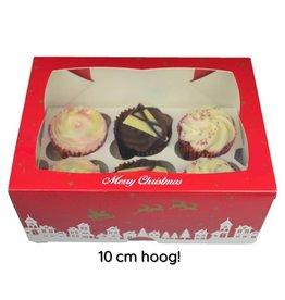 Kerst doos voor 6 cupcakes (25 st.)
