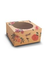 Floral kraft cake box with window - 20x20x13 (10 pcs)