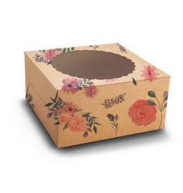 Floral kraft cake box - 20x20x13 (10 pcs)