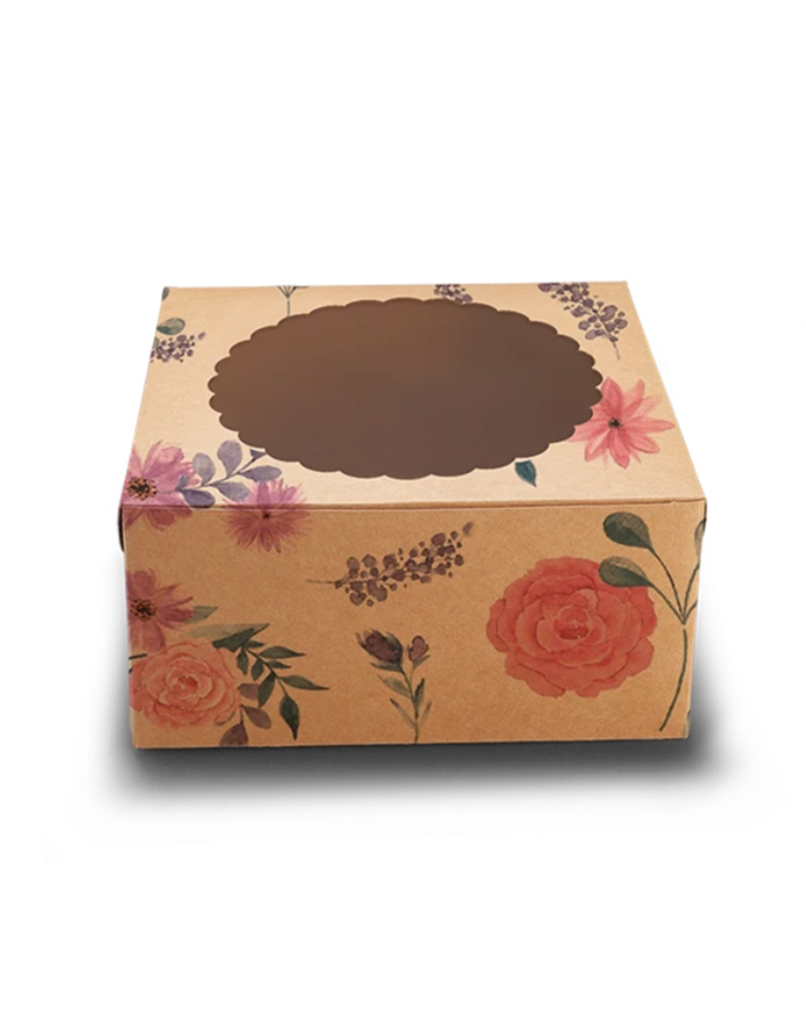 Fleurige kraft taartdoos met venster - 20x20x13 (10 st)