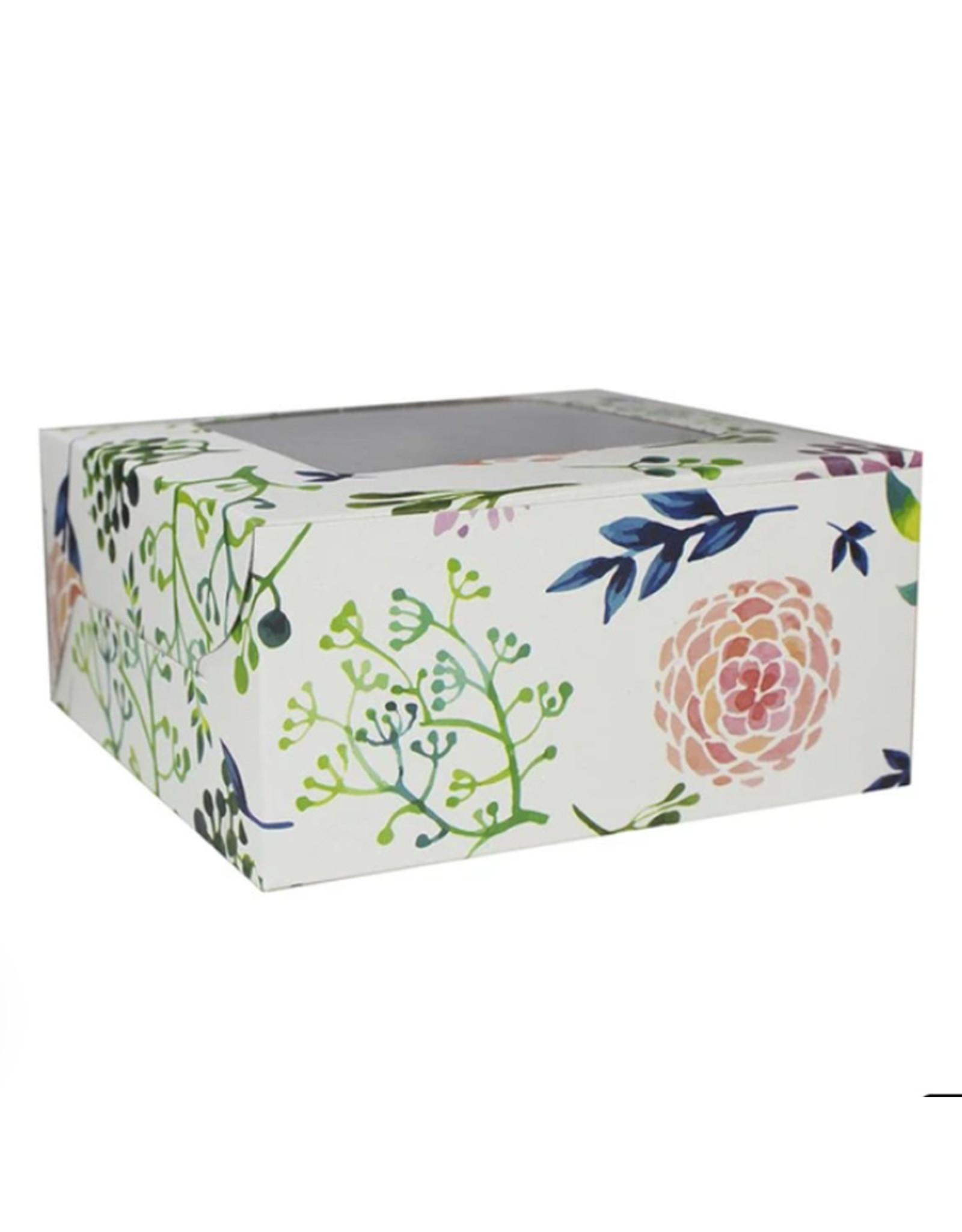Fleurige doos voor 4 cupcakes (per 10 stuks)