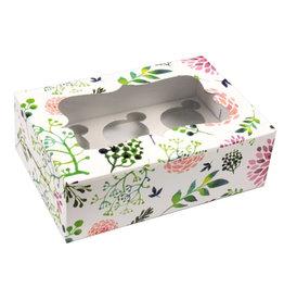 Fleurige doos voor 6 cupcakes (10 st)