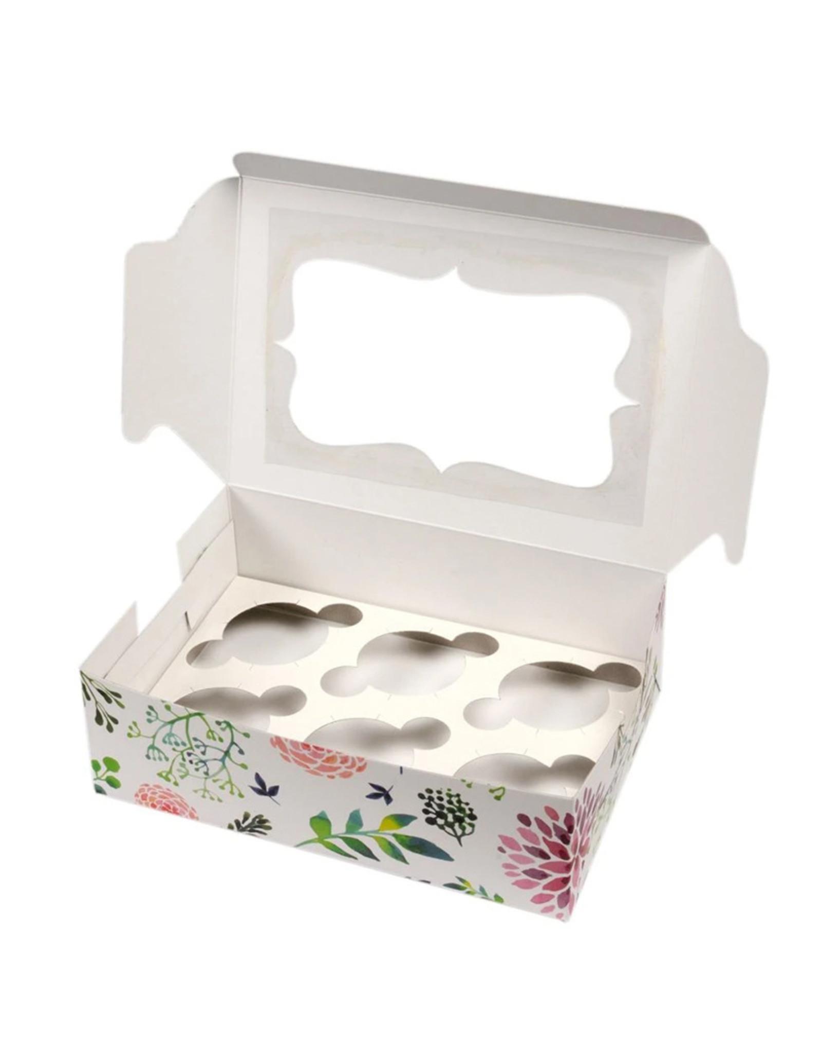 Fleurige doos voor 6 cupcakes (per 10 stuks)