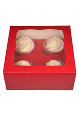 Rode doos voor 4 cupcakes (per 25 stuks)