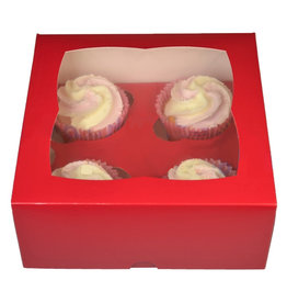Red box for 4 cupcakes (25 pcs.)