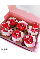 Roze box for 6 cupcakes (per 10 pieces)
