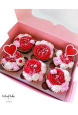 Roze doos voor 6 cupcakes (per 10 stuks)