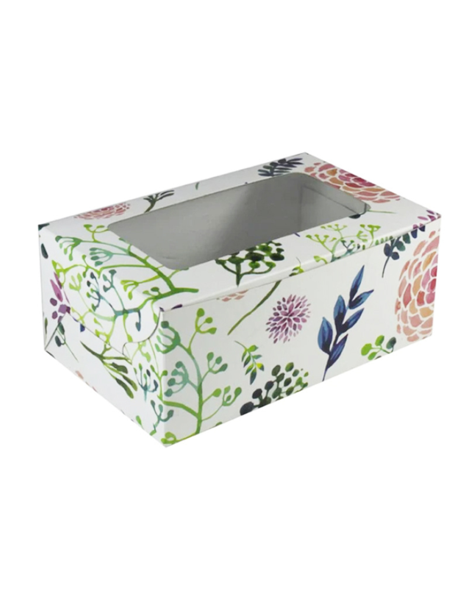Fleurige doos voor 2 cupcakes (per 10 stuks)
