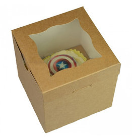 Kraft kubusdoosje voor 1 cupcake (25 st.)