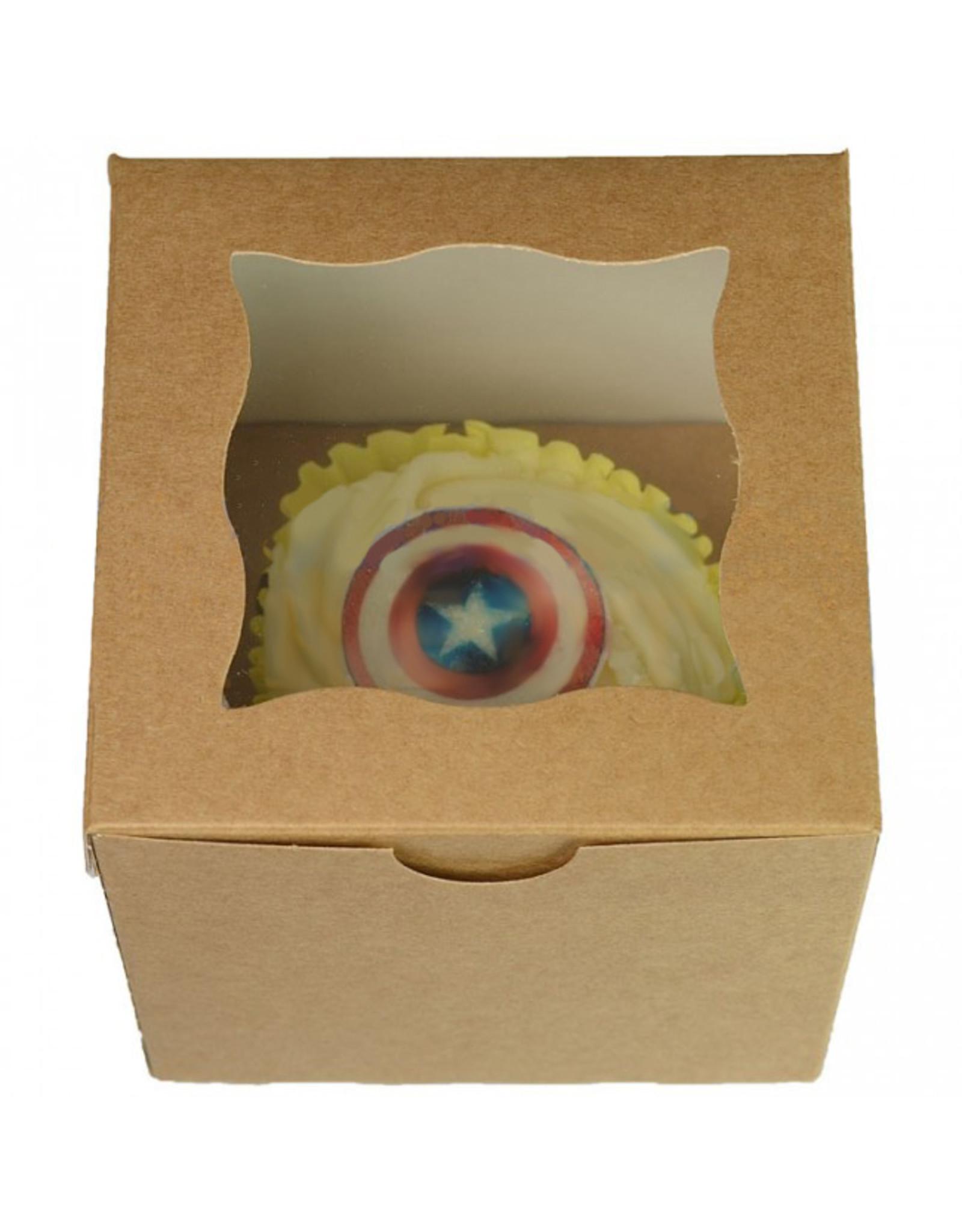 Kraft kubusdoosje voor 1 cupcake (per 25 stuks)
