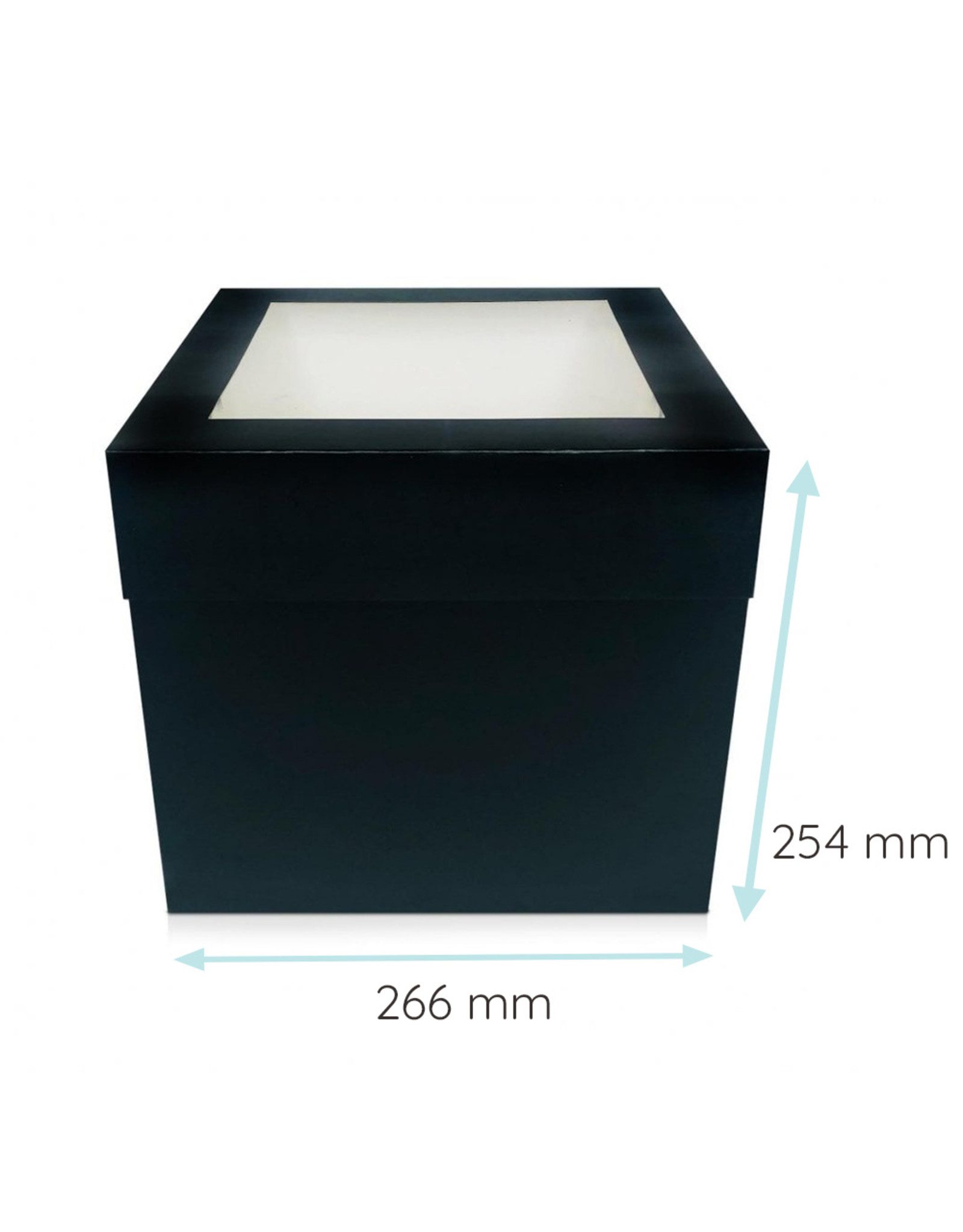 Black tall cake box - 266 x 266 x 254 mm (per 25 pieces)