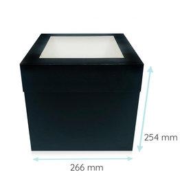 Zwarte hoge taartdoos - 27x27x25 (25 st.)