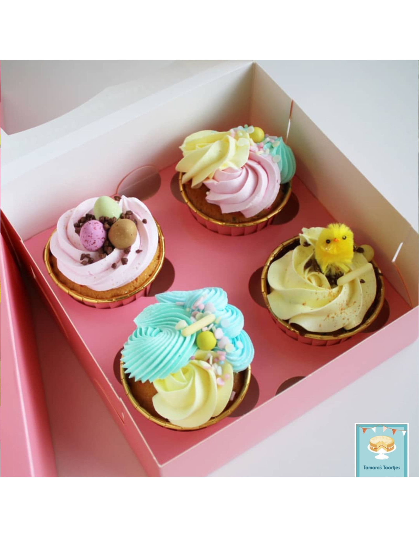 Pink box for 4 cupcakes (per 25 pieces)