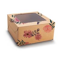 Floral kraft box for 4 cupcakes (10 pcs.)