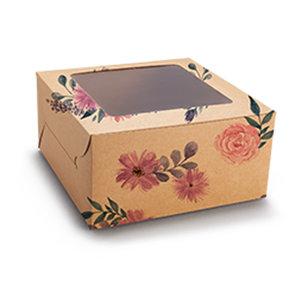 Fleurige kraft doos voor 4 cupcakes (10 st.)