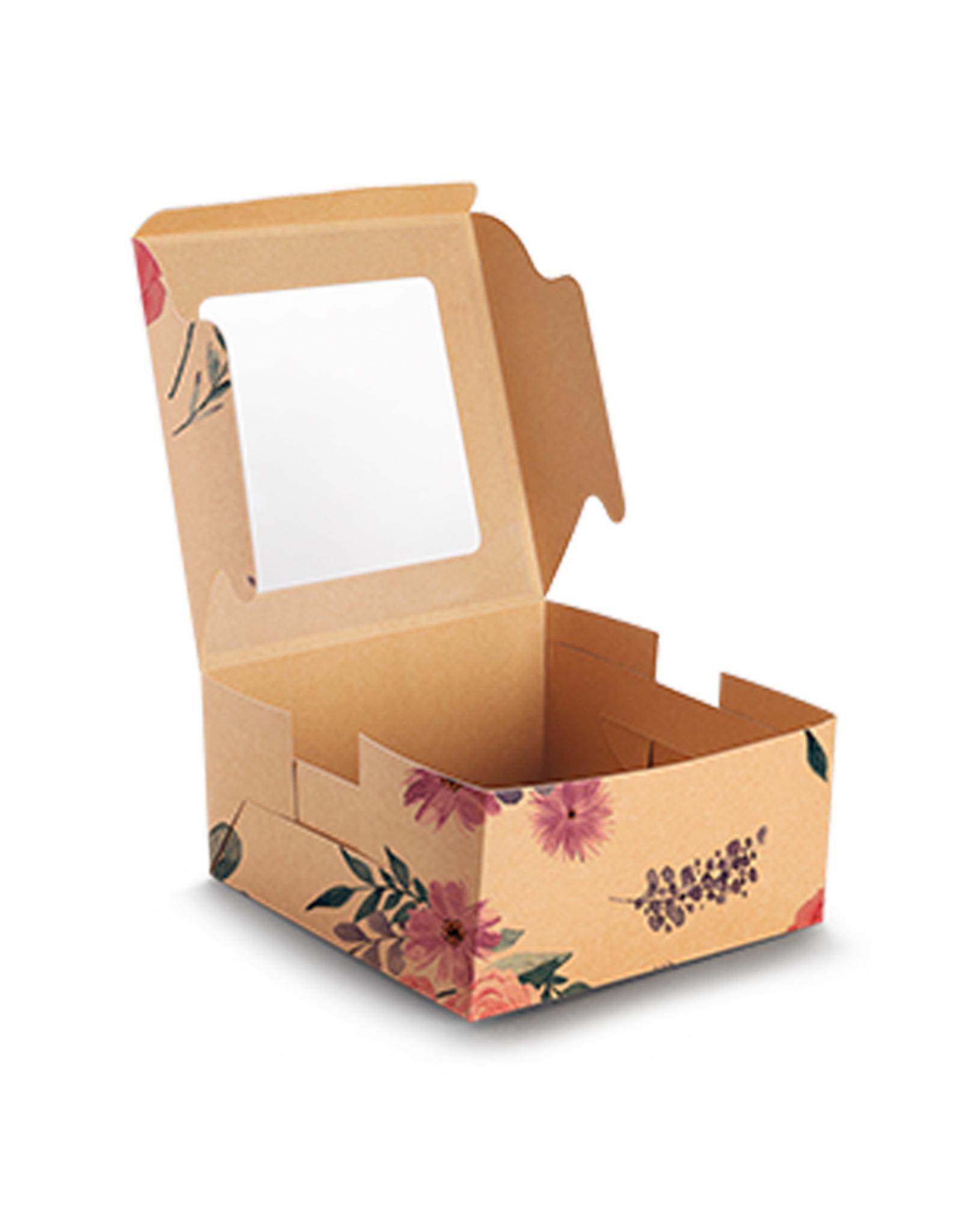 Fleurige kraft doos voor 4 cupcakes (per 10 stuks)