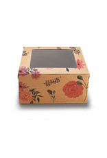 Floral kraft box for 4 cupcakes (per 10 pieces)