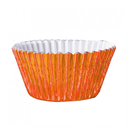 Metallic baking cups - oranje (500 stuks)