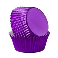 Metallic baking cups - paars (500 stuks)