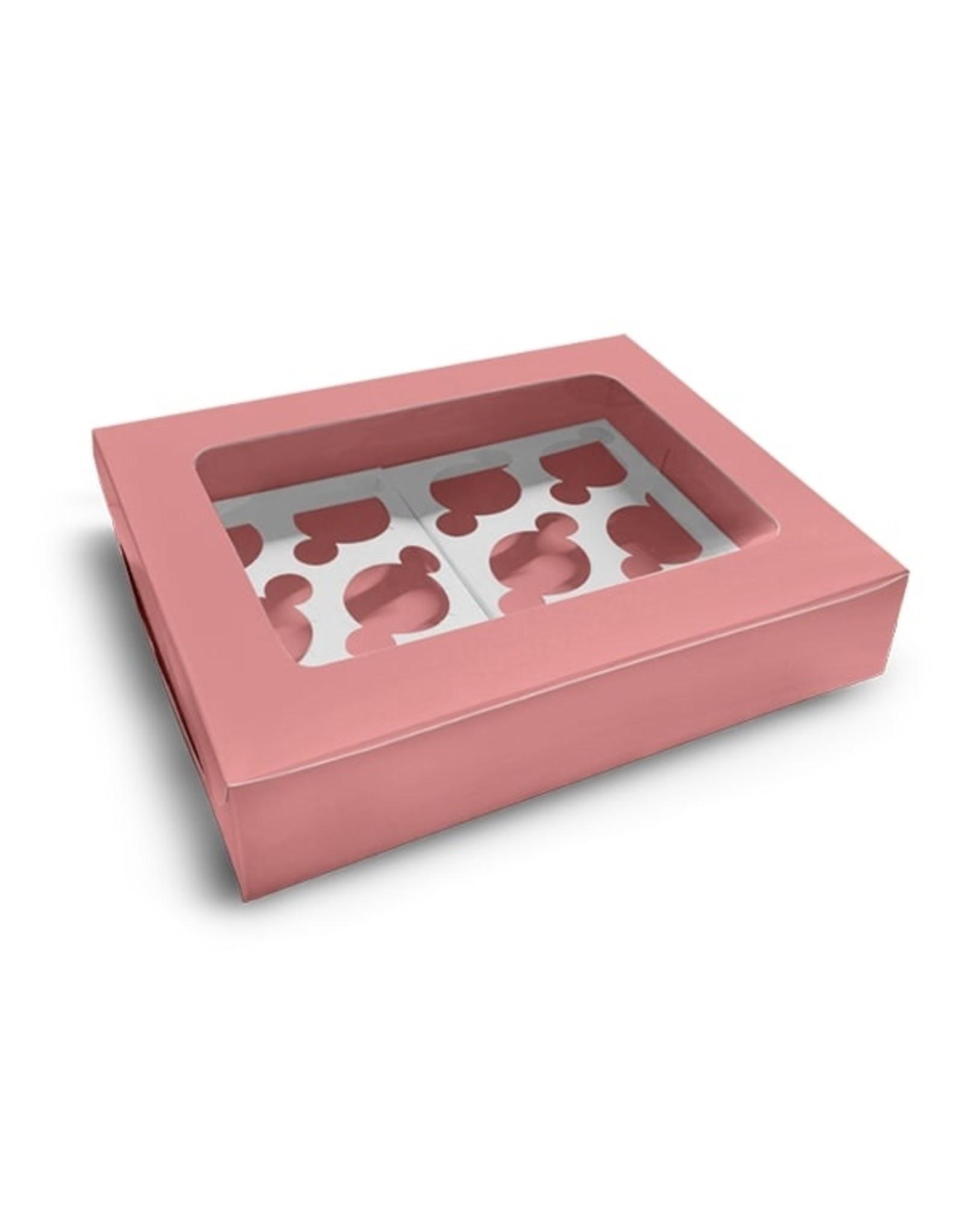 Roze doos voor 12 cupcakes (per 10 stuks)