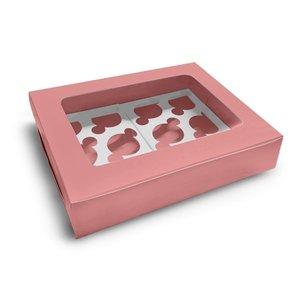 Roze doos voor 12 cupcakes (10 st.)