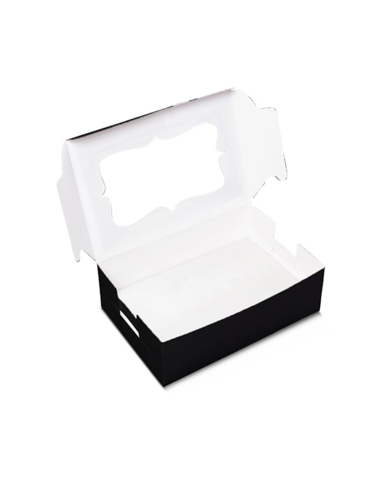 Zwarte doos voor 6 cupcakes (per 10 stuks)
