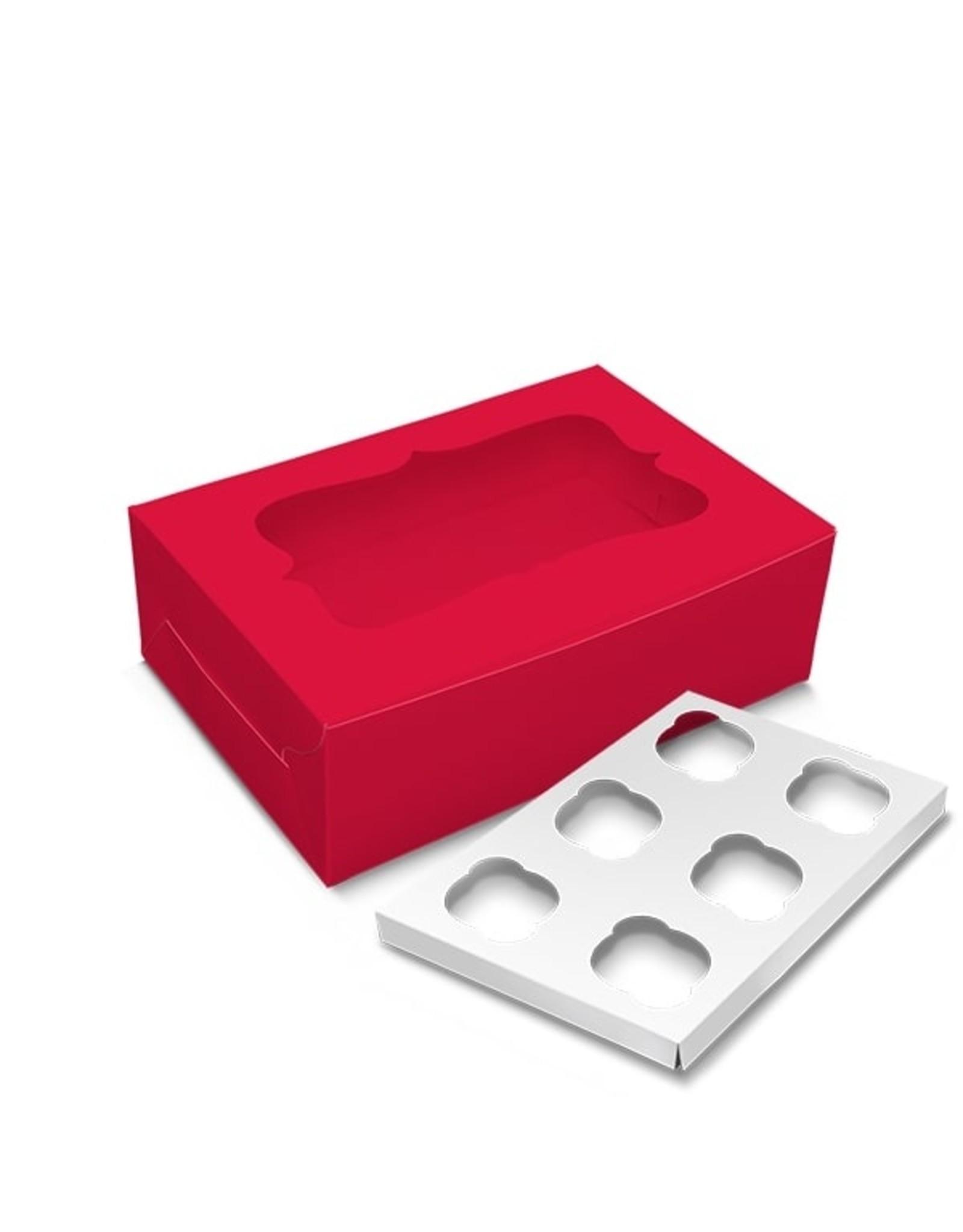 Rode doos voor 6 cupcakes (per 10 stuks)