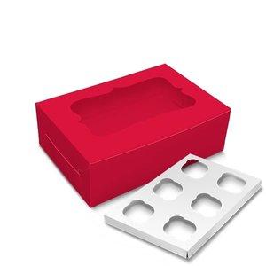 Rode doos voor 6 cupcakes (10 st.)
