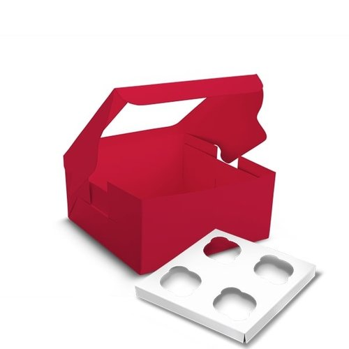 Red box for 4 cupcakes (per 10 pieces)